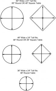 Circular & Squared Table Sneeze Guard by StaSafe Technical Drawing